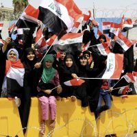 On April 26, 2016, thousands of Muqtada al-Sadr's supporters gathered in front of the Green Zone in Baghdad, Iraq. (Karim Kadim/AP Photo)