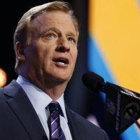 NFL Commissioner Roger Goodell talks during the first round of the 2016 NFL football draft, Thursday, April 28, 2016, in Chicago. (Charles Rex Arbogast/AP)