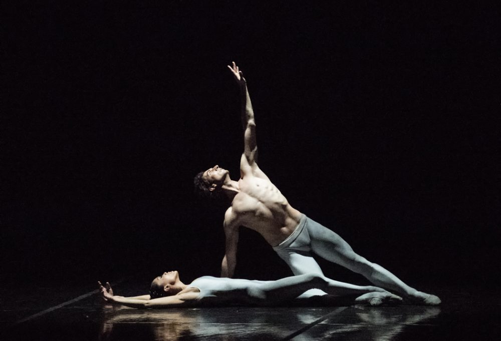 "Lia Cirio and Eris Nezha of Boston Ballet in Norbert Vesak's ""Belong."" (Courtesy of Gene Schiavone/Boston Ballet)"