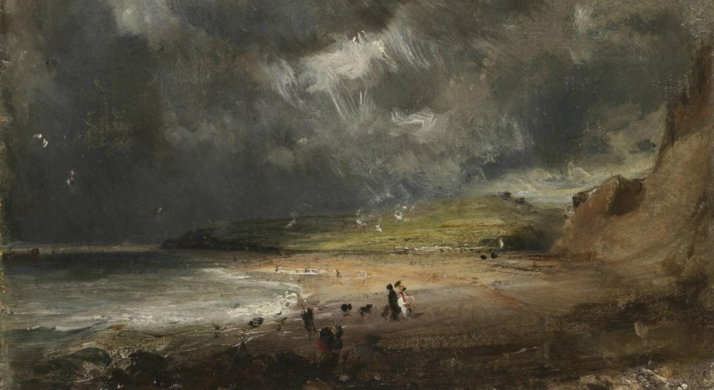John Constable created his ominous oil painting, 'Weymouth Bay' in 1816. The dark skies were inspired by 'The Year Without a Summer,' the same meteorological change that influenced the novel 'Frankenstein.' (Courtesy Victoria and Albert Museum, London)
