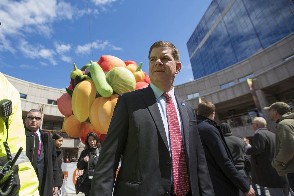 "Boston Mayor Marty Walsh in Faneuil Hall in front of Choi Jeong Hwa's ""Fruit Tree."" Among Walsh's efforts to boost Boston arts has been the creation of the city's first office of arts and culture in decades. (Jesse Costa/WBUR)"