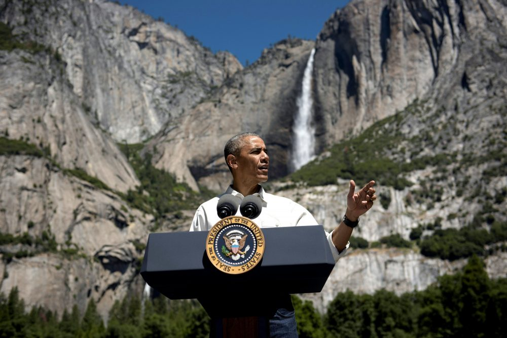 US President Barack Obama speaks while celebrating the 100th anniversary of the US National Parks system at Yosemite National Park, California, on June 18, 2016. (BRENDAN SMIALOWSKI/AFP/Getty Images)