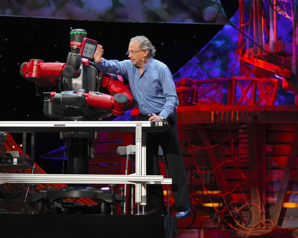Rodney Brooks presenting the Baxter robot, a product of Rethink Robotics, during a TED talk. (Steve Jurvetson/Flickr)