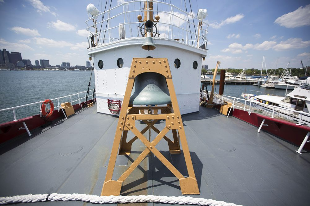 The fog bell on the deck of the Nantucket Lightship. (Jesse Costa/WBUR)