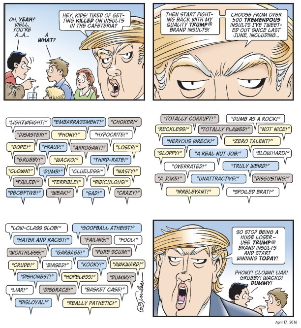 "A comic strip from ""Yuge! 30 Years of Doonesbury on Trump"" referenced in this segment. (Copyright G. B. Trudeau, Andrews McMeel Publishing)"
