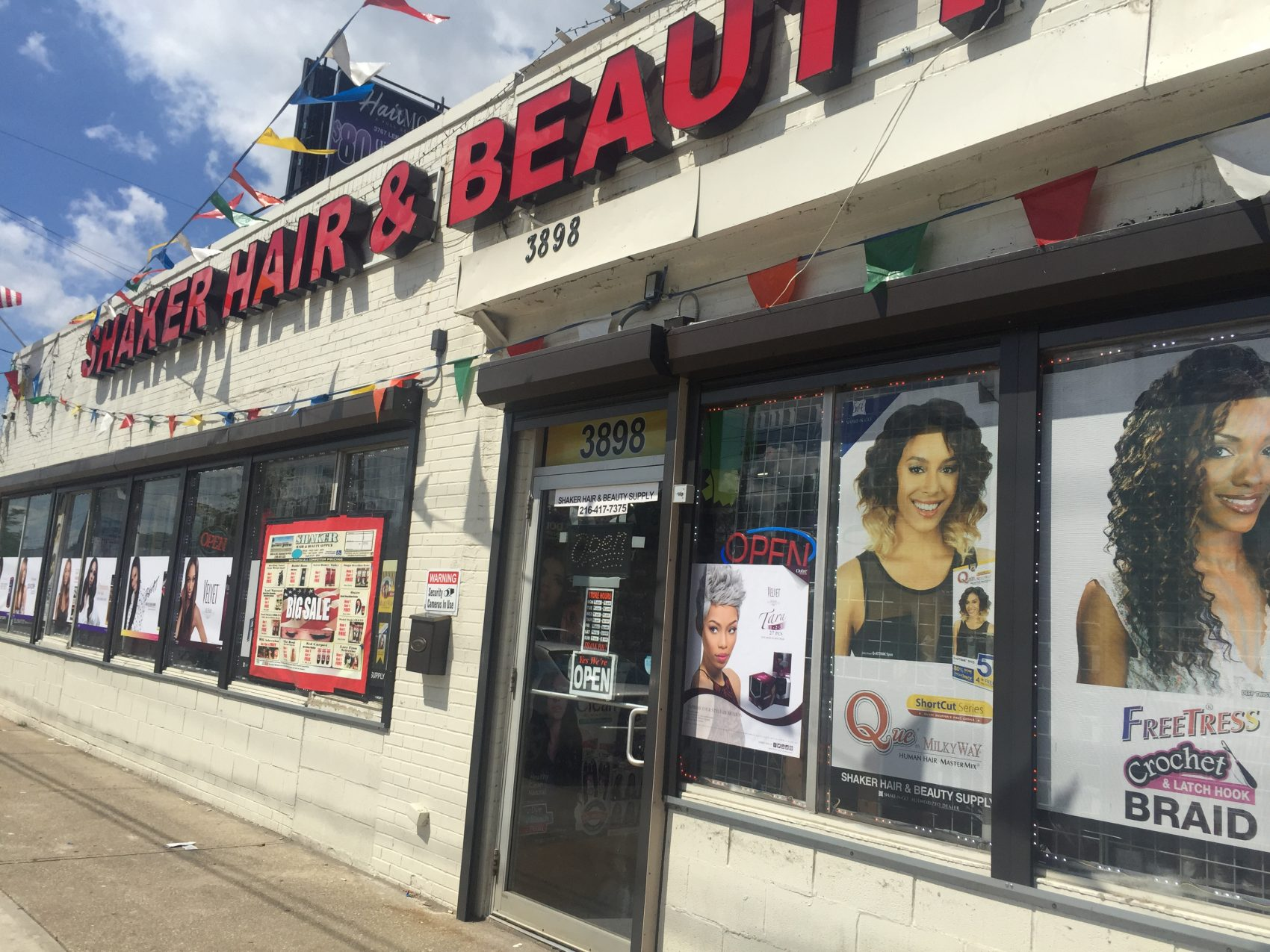 The exterior of Shaker Hair & Beauty Supply in Cleveland Heights, Ohio. (Robin Young/Here & Now)