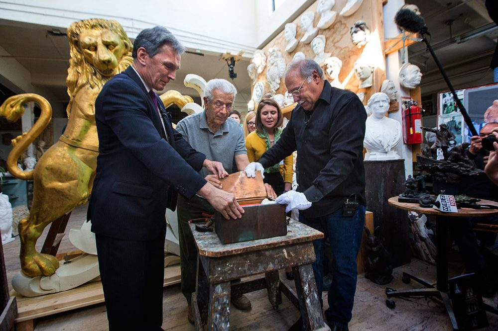 In 2014, historians opened a copper time capsule that was left in the lion statue more than 100 years ago. (Jesse Costa/WBUR)