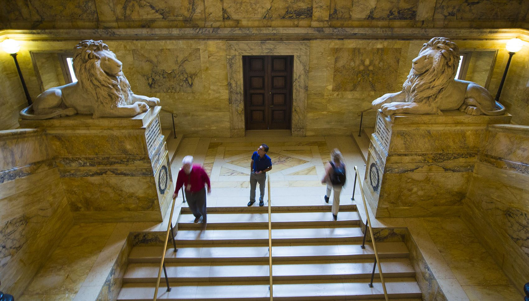 The pair of lion statues in the grand staircase at the Boston Public Library. (Jesse Costa/WBUR)