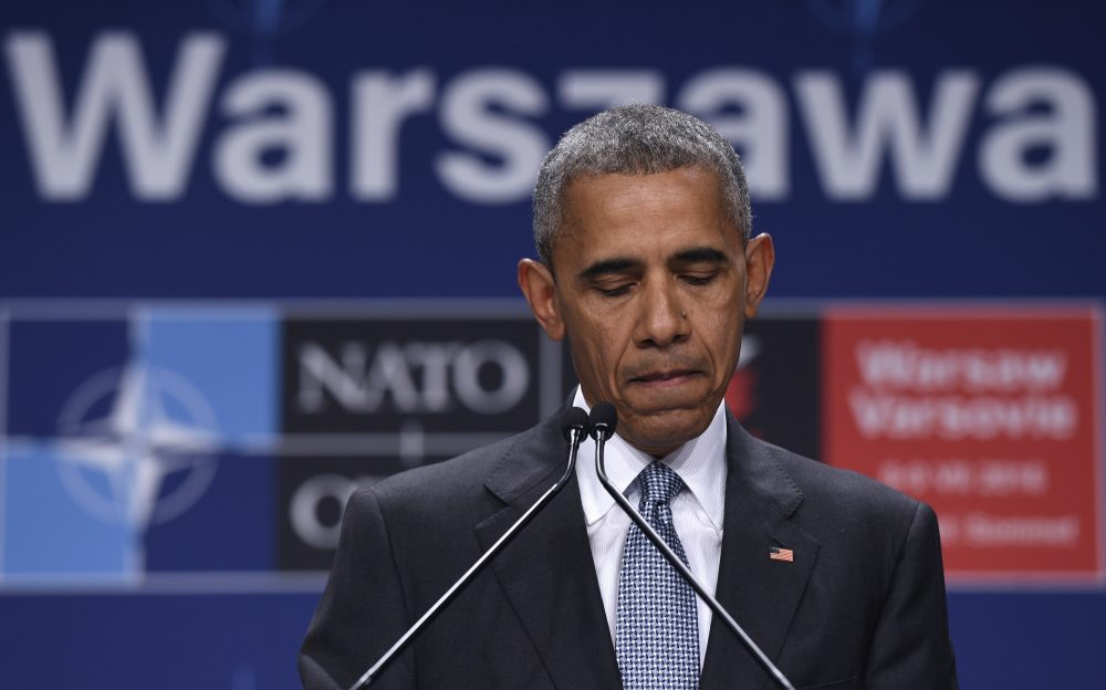 President Obama speaks about the events in Dallas at the beginning of his news conference at PGE National Stadium in Warsaw, Poland, on Saturday. (Susan Walsh/AP)