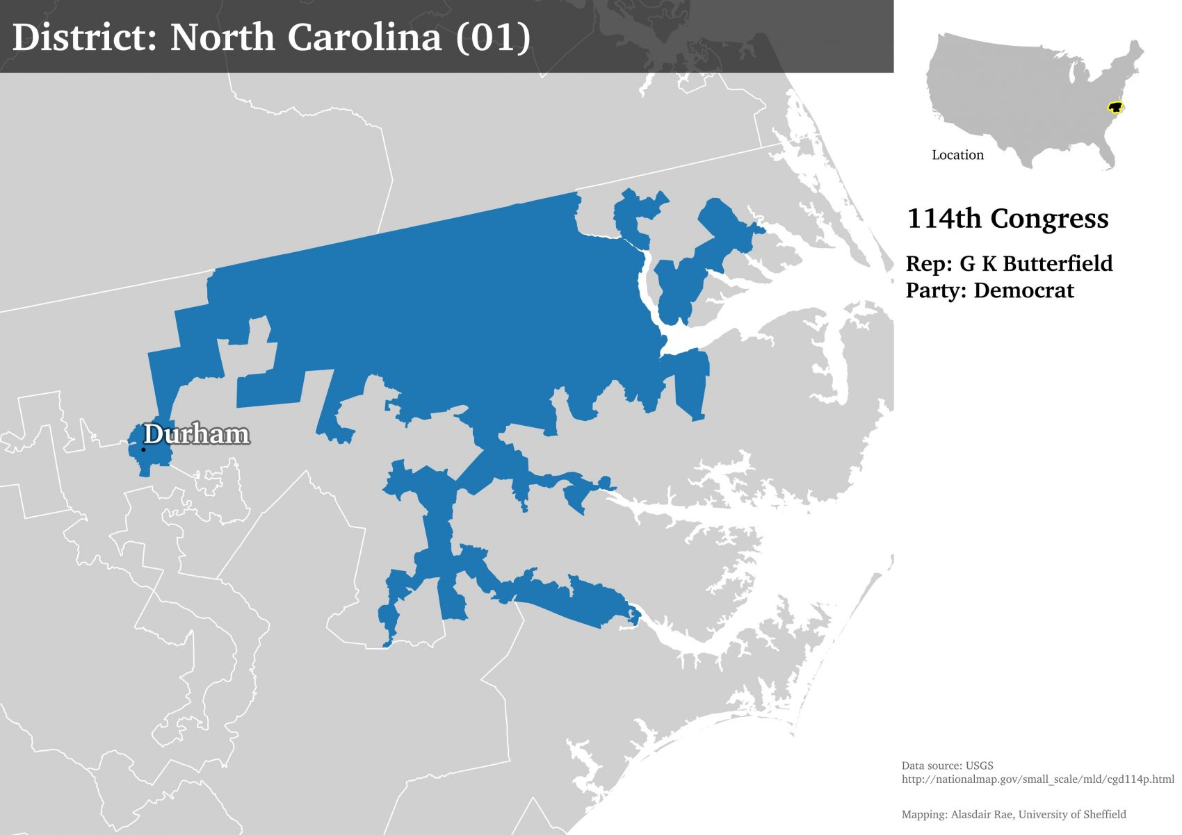 A map showing North Carolina's 1st congressional district. (Courtesy of Alasdair Rae)