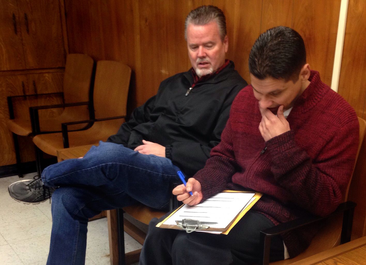 Guerrero's former mentor Danny Hurst accompanies him to the courthouse the  day he is released from