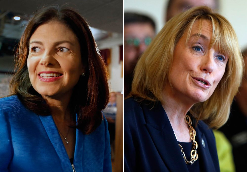 In a race that could determine which party controls the Senate, our new poll shows that New Hampshire Gov. Maggie Hassan, a Democrat, is leading incumbent Republican Sen. Kelly Ayotte by 10 points. (AP file photos)