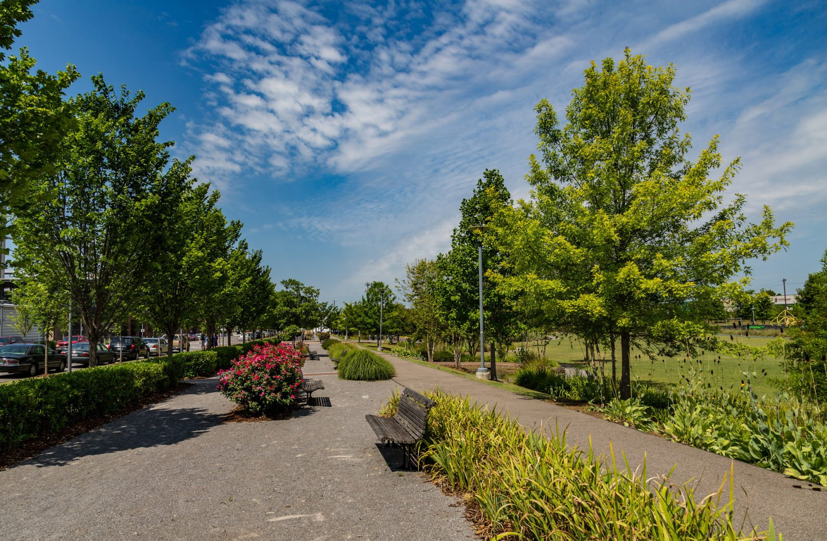 Railroad Park in Birmingham, Ala. The park was built over a former rail yard in the city center. (Tony Webster/Flickr)