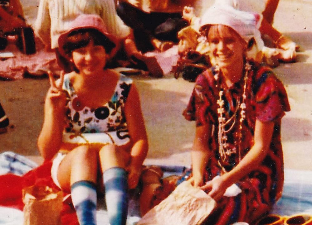 Firoozeh Dumas (left) with her friend Carolyn at Tourist Day at Corona del Mar High School in Newport Beach, Calif., in 1984. (Courtesy Karen Howard)