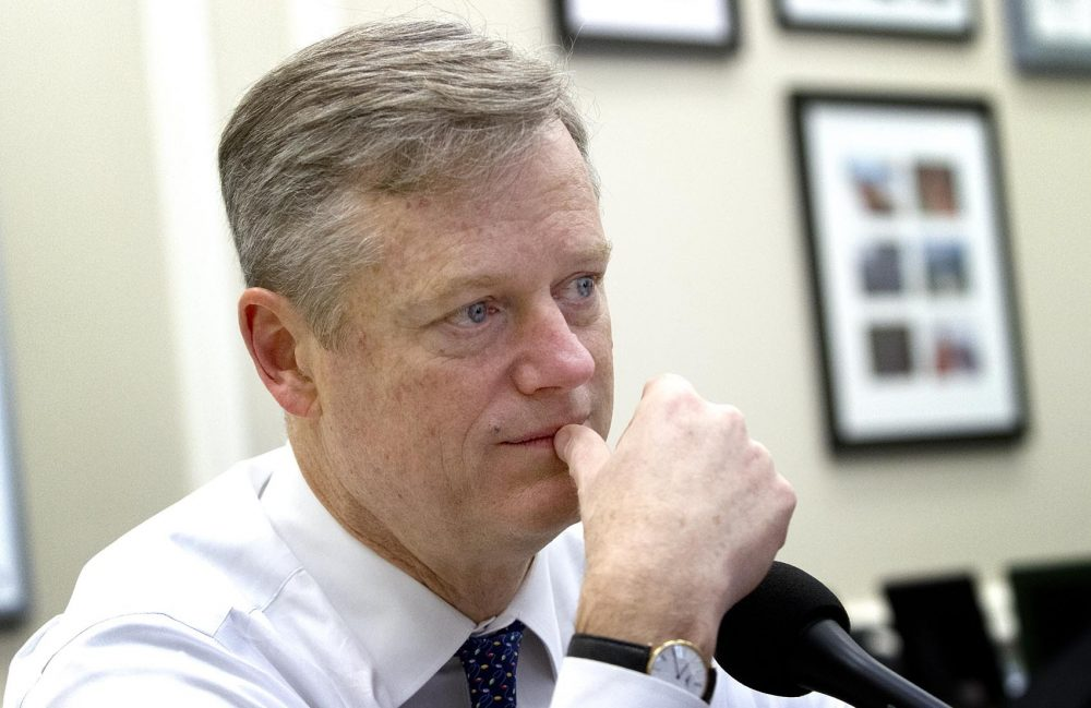 Republican Gov. Charlie Baker in an earlier file photo. (Robin Lubbock/WBUR)