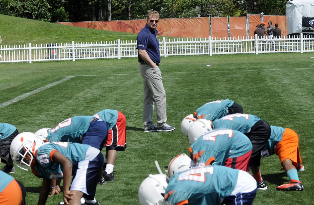 NFL commissioner Roger Goodell is seen at Heads Up Football skills clinic for youth football players from the Northeast Ohio Pop Warner Leagues on Thursday, August 1, 2013 at the Cleveland Browns Training Facility in Berea, Ohio. Heads Up Football is a new, comprehensive youth football membership program developed by USA Football and supported by the NFL to further advance youth player safety. (Tom E. Puskar/ AP Images for NFL Network)