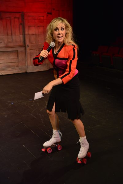 "Breann Julian campaigns on roller skates in ""The Totalitarians."" (Courtesy of Gary Ng)"