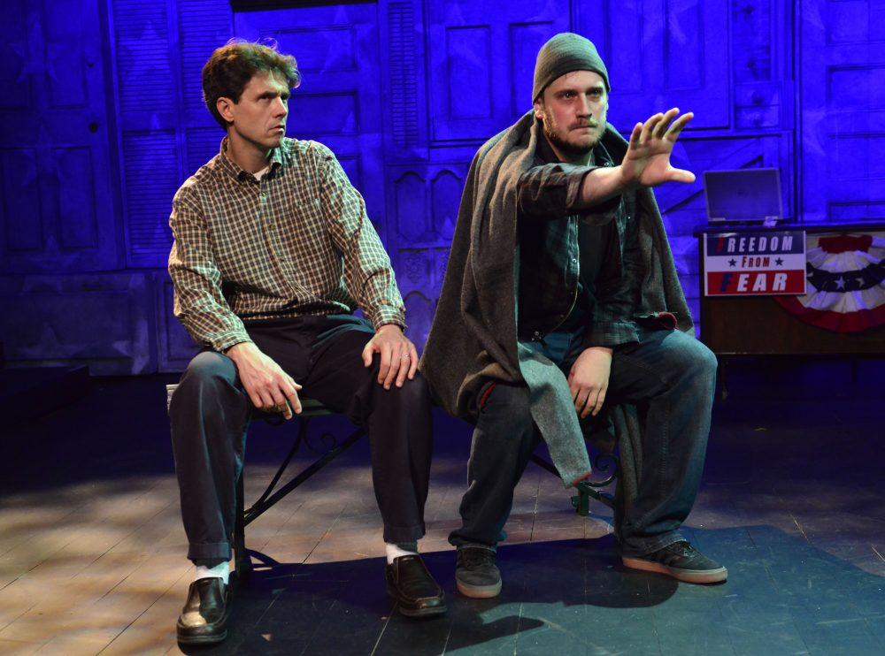 "Lewis D. Wheeler and Alex Portenko in ""The Totalitarians"" at Gloucester Stage. (Courtesy of Gary Ng)"