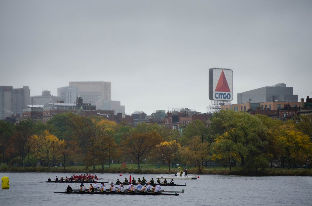 Boats gather by the starting line for the Head of the Charles. (Elizabeth Gillis/WBUR)