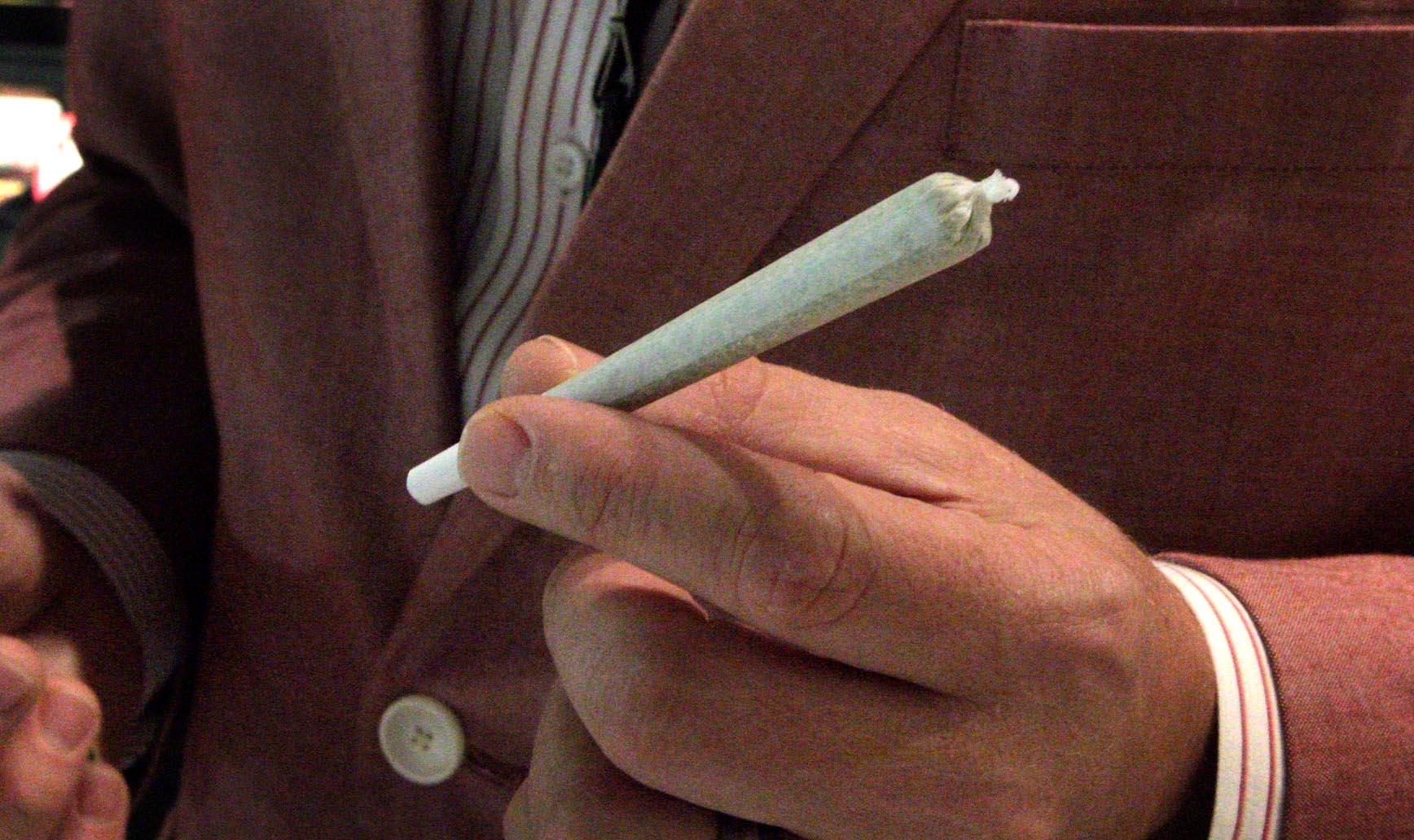 A machine-rolled joint at Native Roots Dispensary in downtown Denver. (Dean Russell/Here & Now)