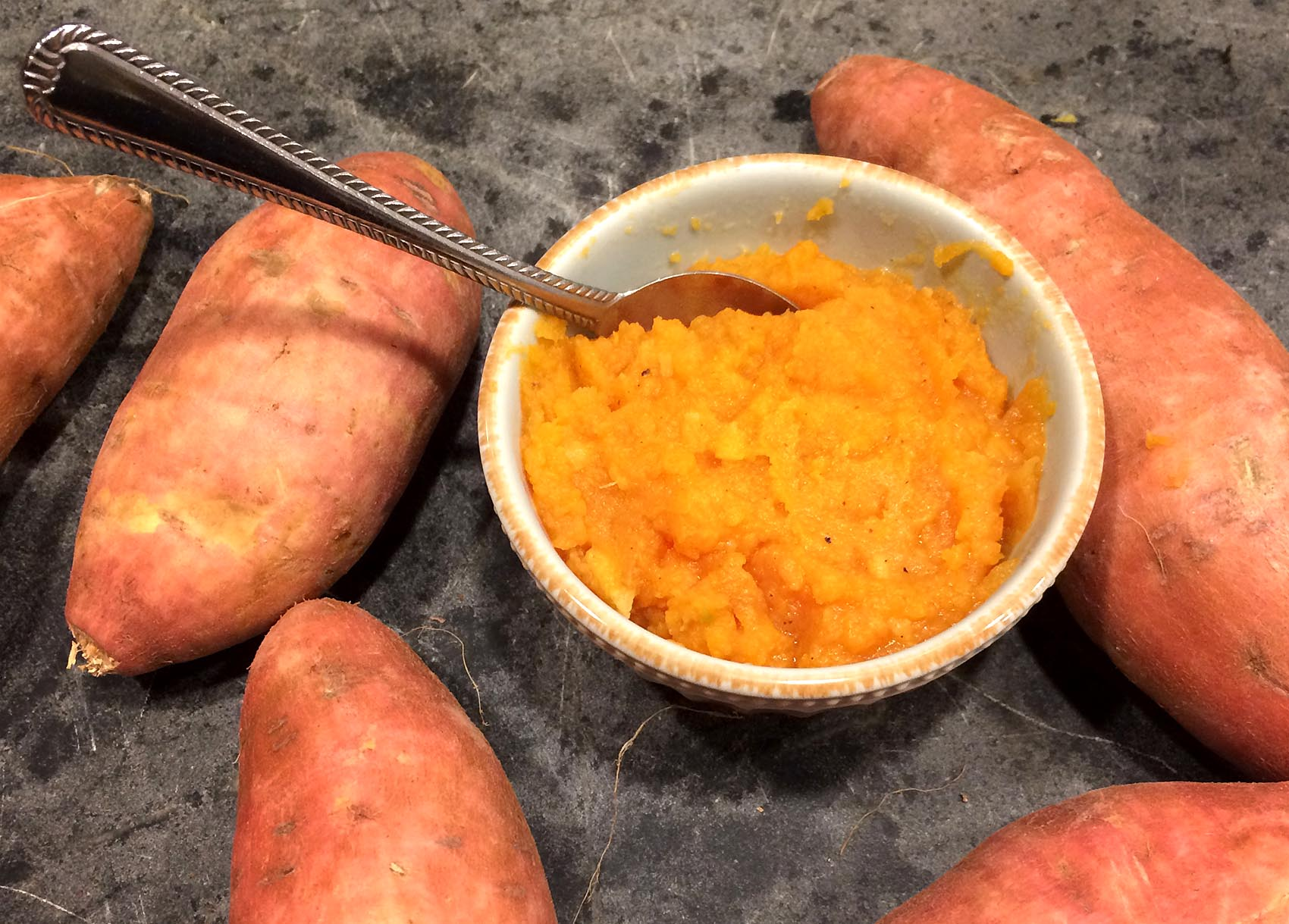 Kathy's sweet potato puree with maple, ginger, nutmeg and apple cider. (Kathy Gunst for Here & Now)