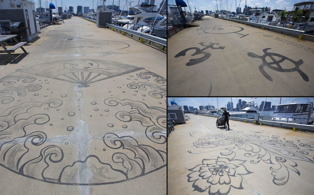 """Connected by Sea"" consists of designs that point out different places around the world including (clockwise from left) Japan, the Caribbean and Russia. (Jesse Costa/WBUR)"