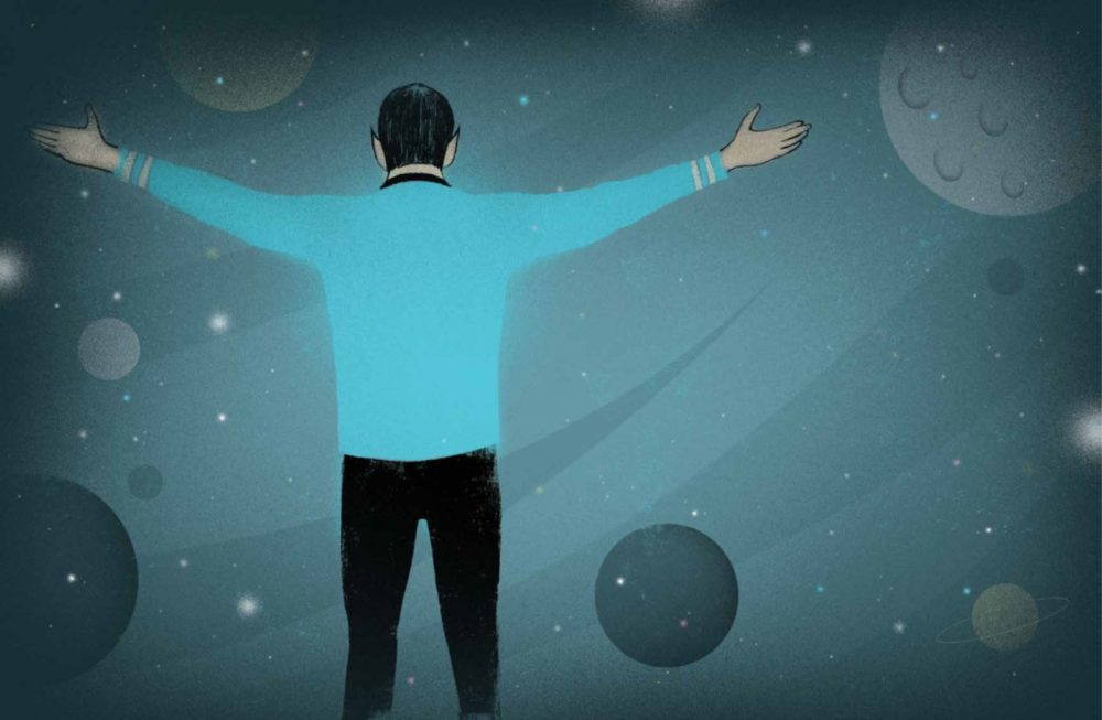 An illustration of Spock with his arms outstretched from Richard Michelson and Edel Rodriquez's new children's book. (Courtesy)