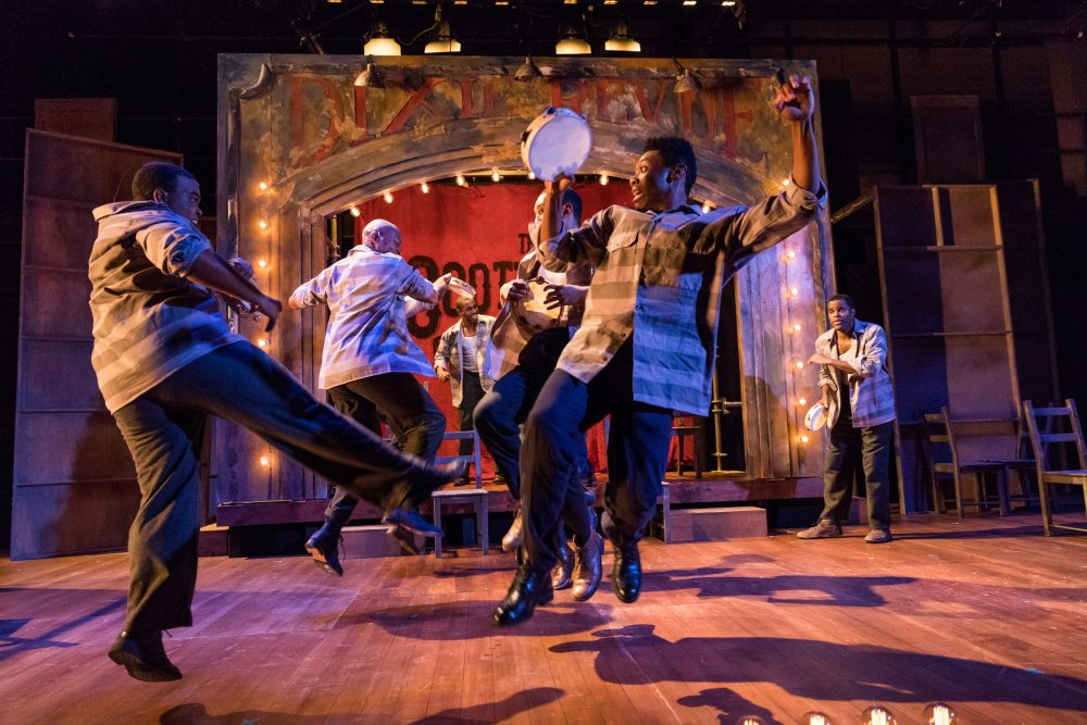Wakeem Jones and members of the cast of SpeakEasy Stage's production of The Scottsboro Boys. (Nile Hawver / Nile Scott Shots)