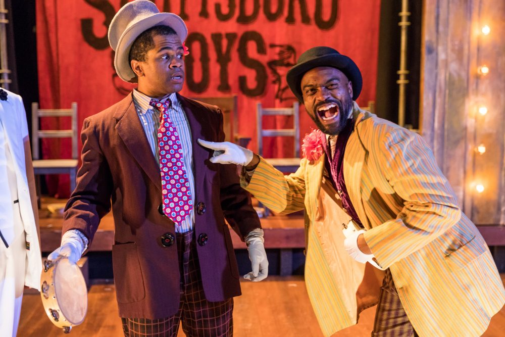 "Brandon G. Green and Maurice Emmanuel Parent in ""The Scottsboro Boys."" (Courtesy Nile Hawver/SpeakEasy Stage Company)"