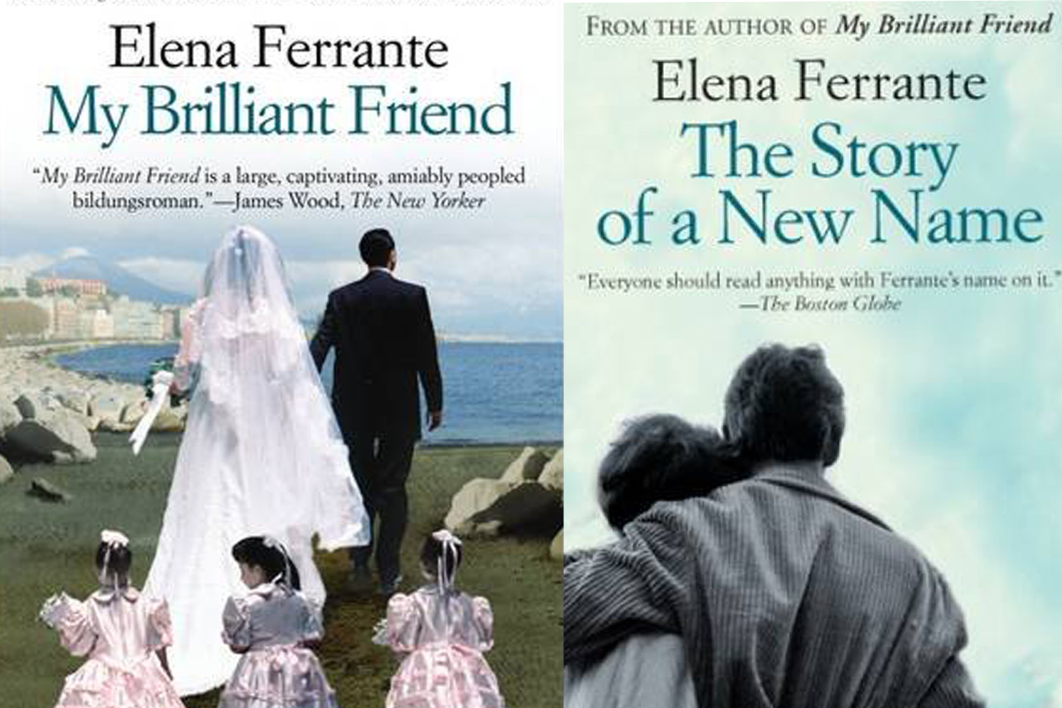 "The covers of two of Elena Ferrante's novels, ""My Brilliant Friend"" and ""The Story of a New Name."" (Courtesy Europa Editions)"