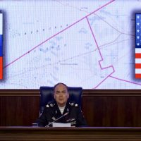 Russian Deputy Defense Minister Anatoly Antonov speaks at a briefing in the Defense Ministry in Moscow, Russia. (Ivan Sekretarev/AP)