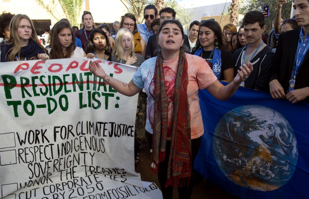 American students protest outside the U.N. climate talks during the COP22 international climate conference in Marrakesh, Morocco, in reaction to Donald Trump's victory in the U.S. presidential election, on Nov. 9, 2016. (Fadel Senna/AFP/Getty Images)