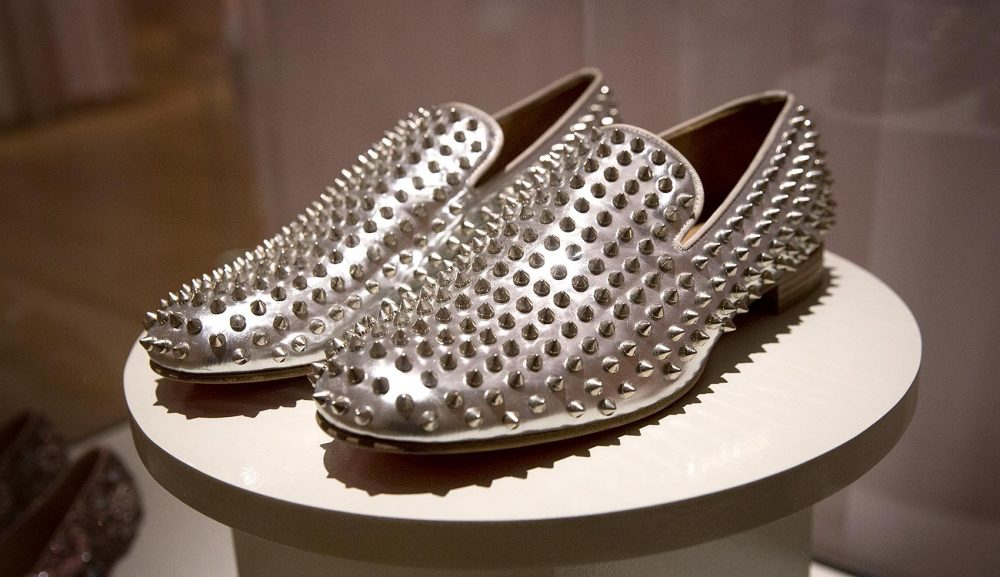 "Christian Louboutin's ""Rollerboy Silver Spikes."" (Robin Lubbock/WBUR)"