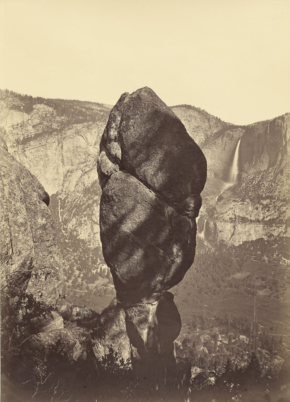 Agassiz Rock and the Yosemite Falls, from Union Point, taken about 1878. (Carleton Watkins/Courtesy J. Paul Getty Museum, Los Angeles)