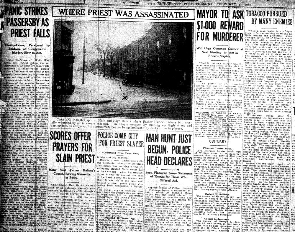 The Bridgeport Post from Feb. 5, 1924, the day after Father Hubert Dahme was murdered. (Courtesy Bridgeport Public Library)