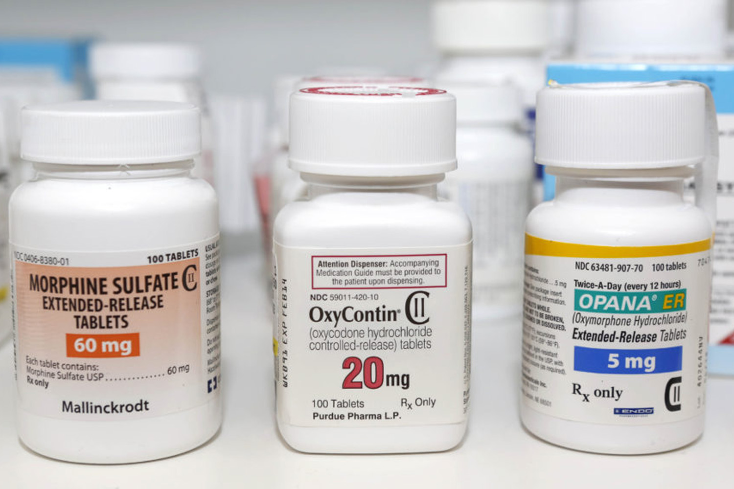 In this Jan. 18, 2013 file photo, Schedule 2 narcotics: Morphine Sulfate, OxyContin and Opana are displayed for a photograph in Carmichael, Calif. (Rich Pedroncelli/AP)