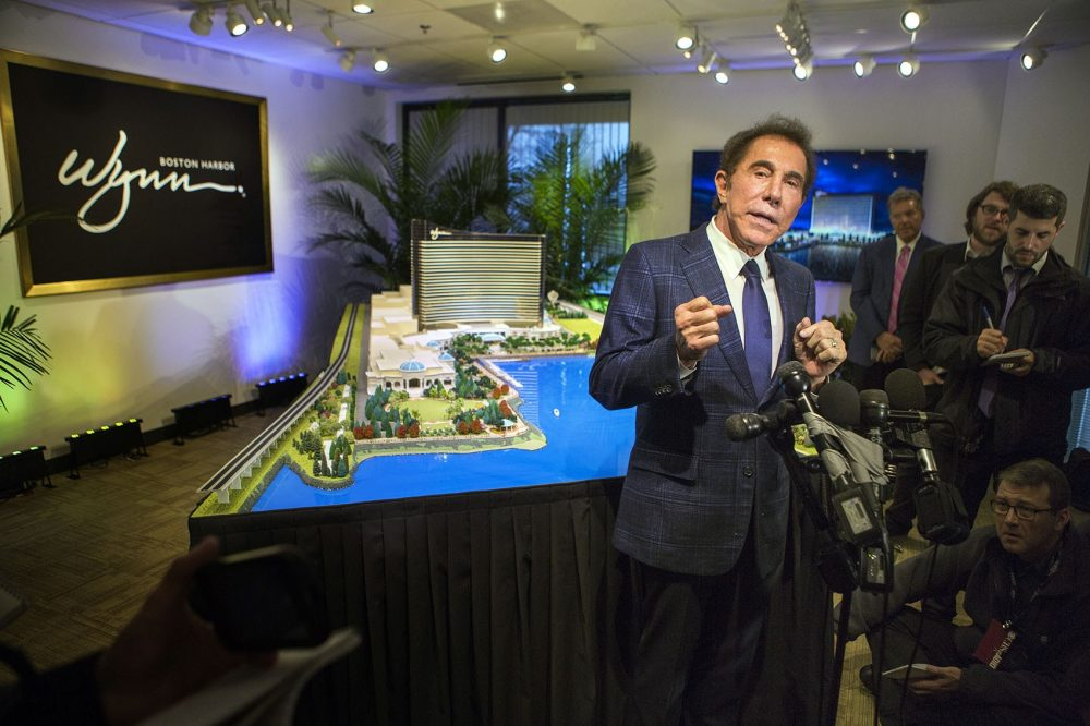 Casino mogul Steve Wynn speaks with the press about his casino project, now called Wynn Boston Harbor, in Everett. (Jesse Costa/WBUR)