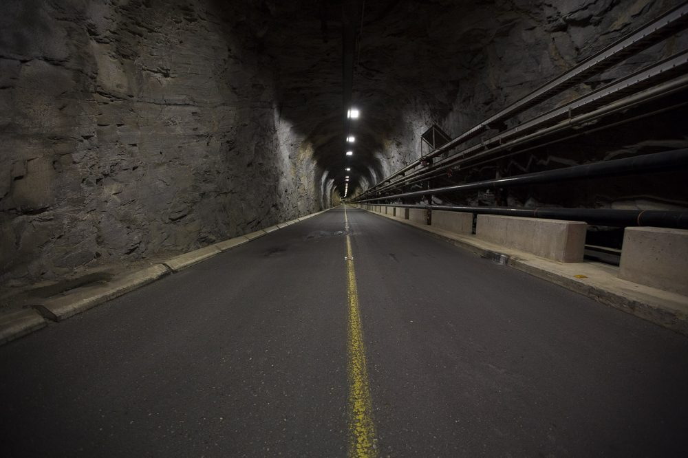 "The road into the entry portal of the ""Batcave"" (Jesse Costa/WBUR)"