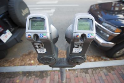A parking meter in Boston. (Jesse Costa/WBUR)