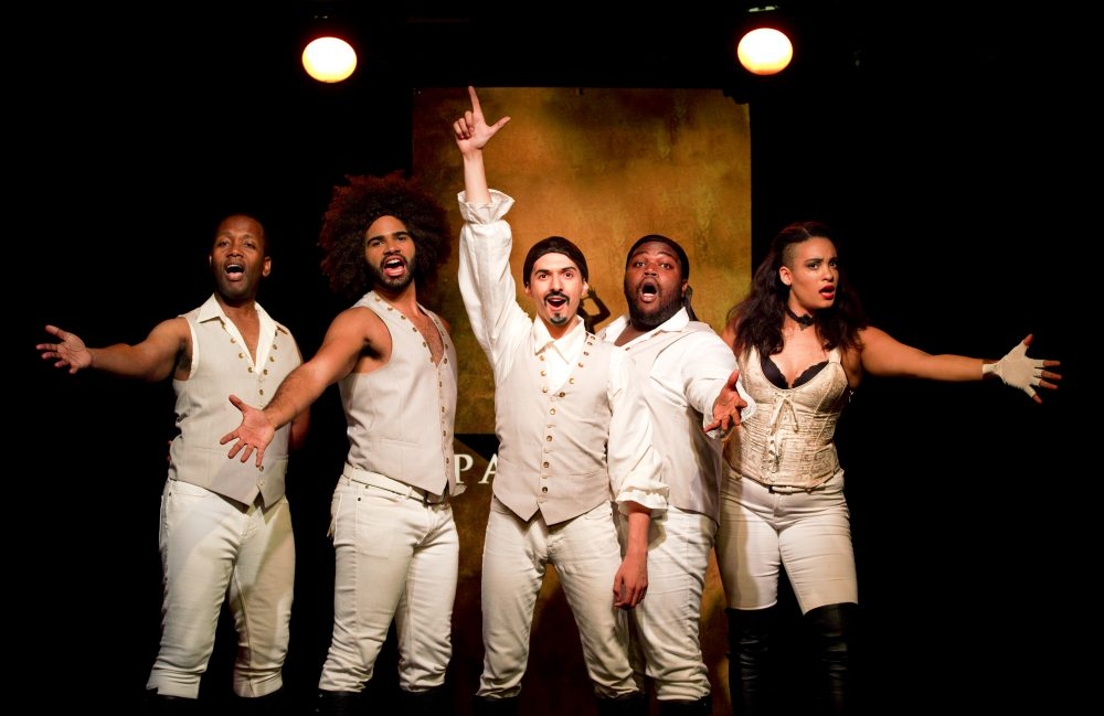"Chris Anthony Giles, Nicholas Edwards, Dan Rosales, Juwan Crawley and Nora Schell in a scene from ""Spamilton"" at the Triad. (Carol Rosegg)"