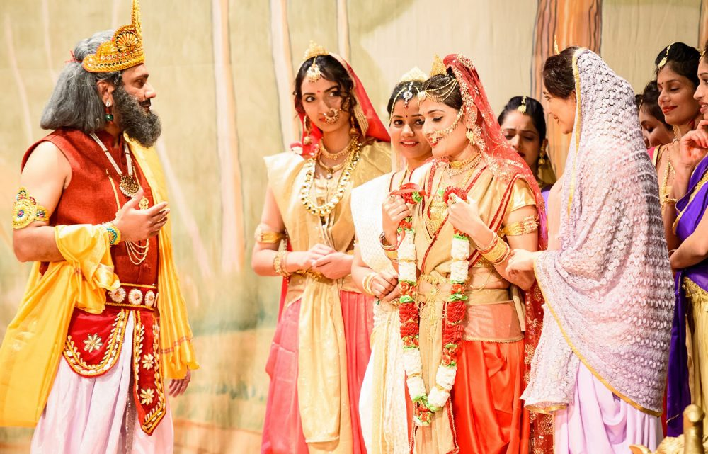 "In SETU's adaptation of ""Ramayan,"" the king asks Sita if she will agree to marry Rama. (Kolam Media Creations)"