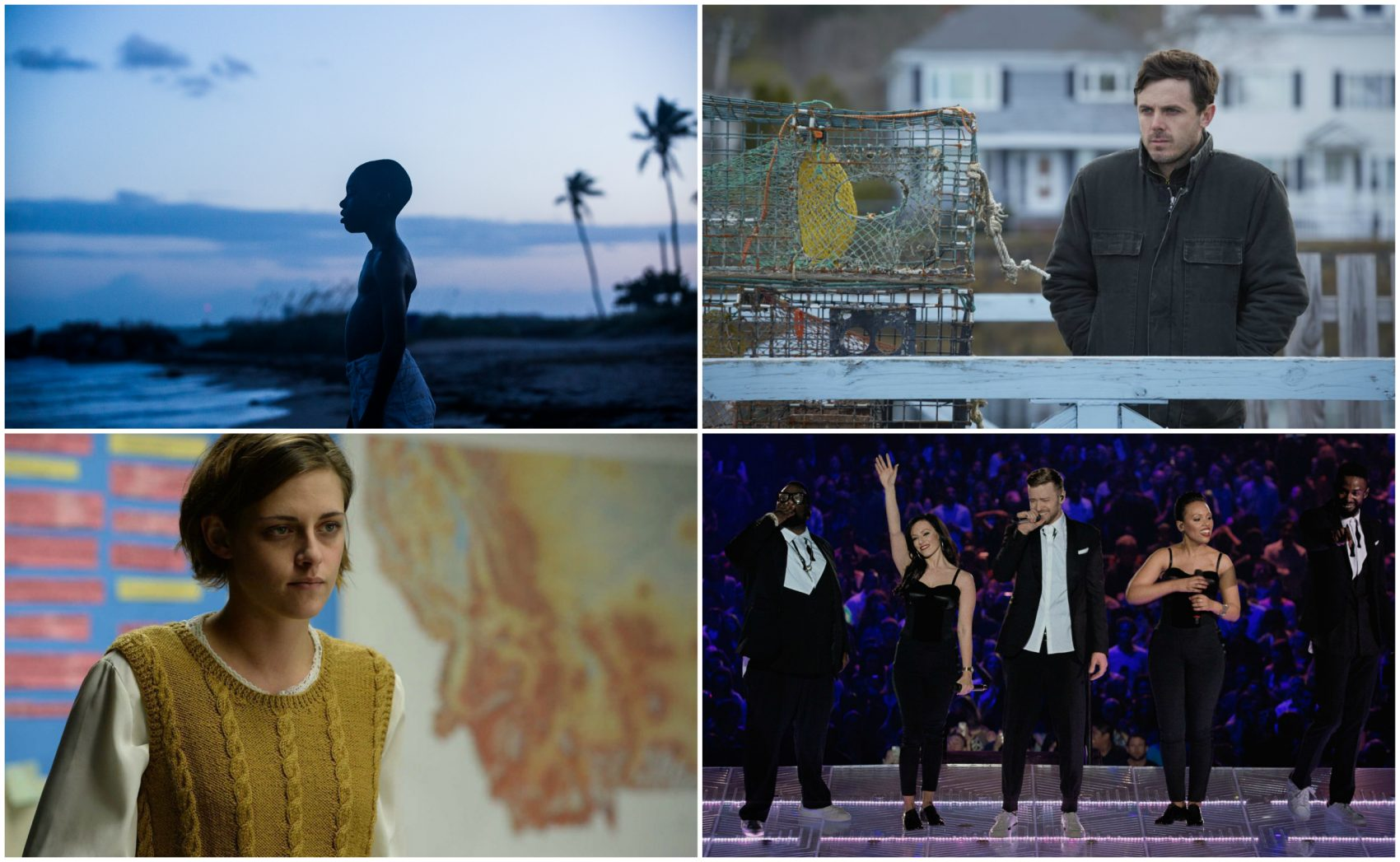 "Scenes from ""Moonlight,"" ""Manchester by the Sea,"" ""Certain Women"" and ""Justin Timberlake + The Tennessee Kids."" (Courtesy EPK, Amazon Studios, IFC Films and Netflix)"
