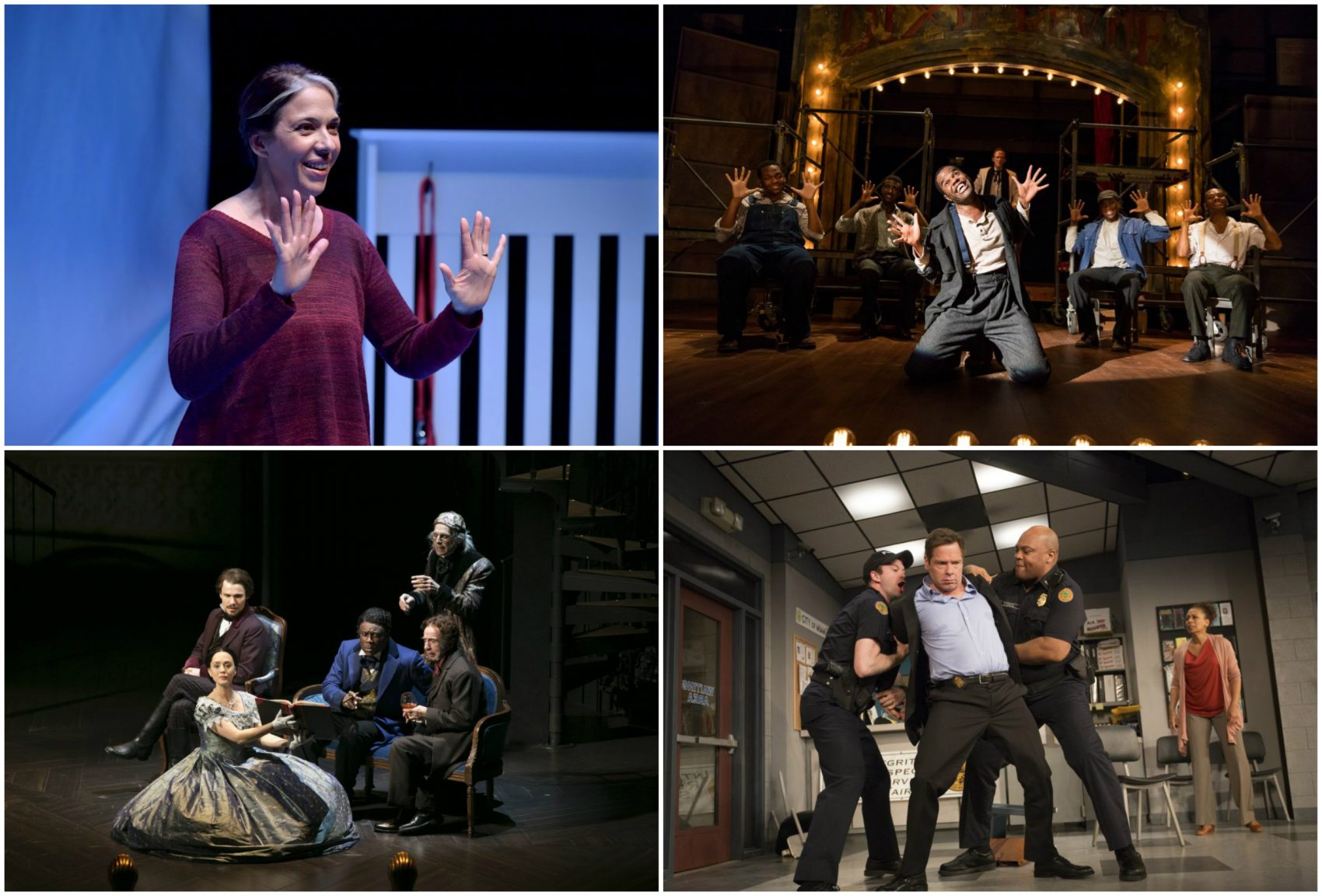 "Scenes from ""Mala,"" ""The Scottsboro Boys,"" ""American Son"" and ""Fingersmith,"" clockwise. (Courtesy of the theater companies)"
