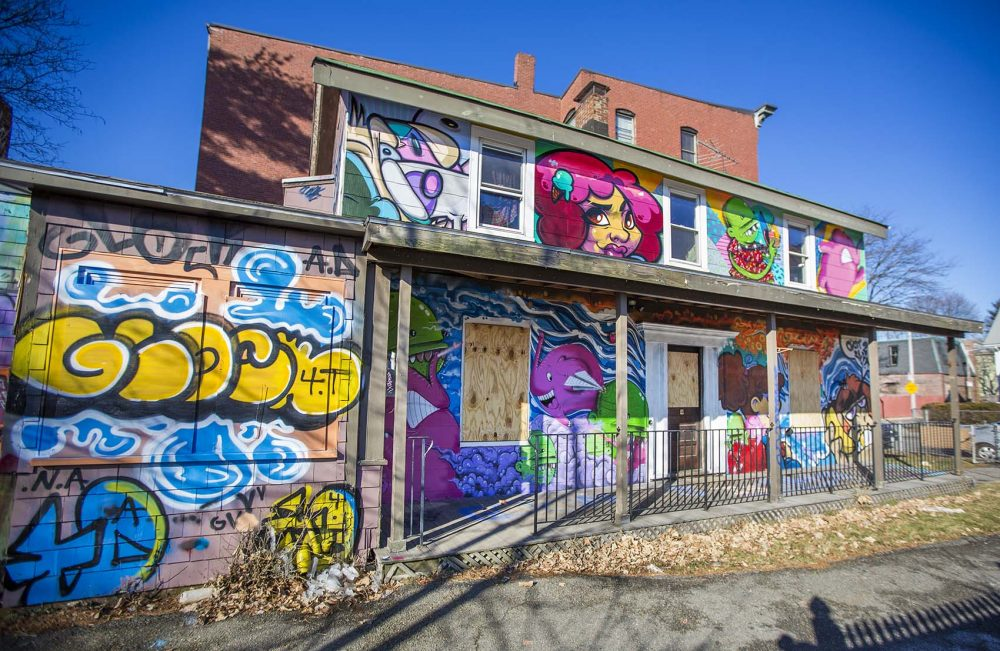 Empty house covered by graffiti at 197 Green St., Jamaica Plain, Boston. (Jesse Costa/WBUR)