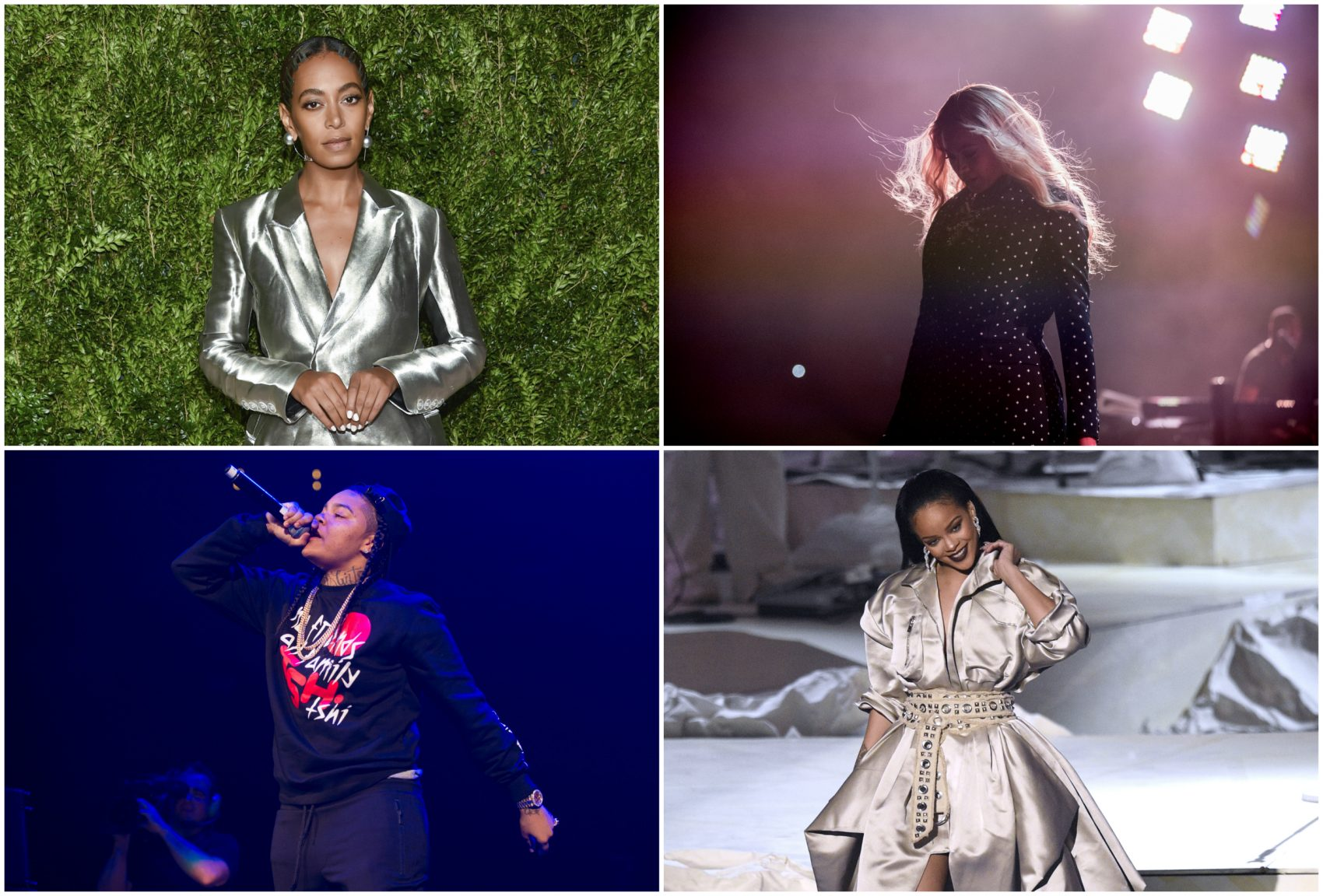 Solange, Beyoncé, Rihanna and Young M.A., clockwise. (AP photos)