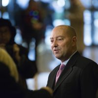 Retired Adm. James Stavridis talks to the press after his meeting with President-elect Donald at Trump Tower in New York, Thursday. (Kevin Hagen/AP)