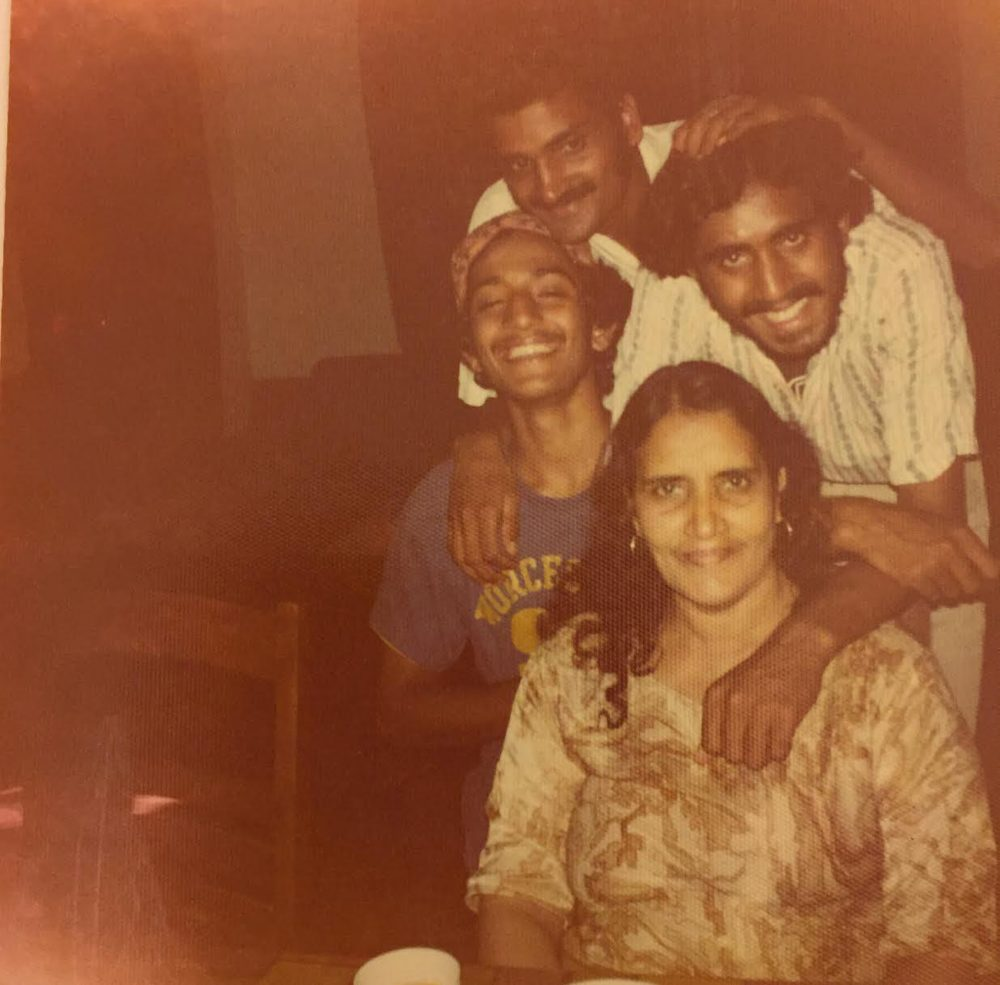 Amtul Hafeez with three of her six sons, from left, Uzair Rashid, Scunder Rashid and Munshoor Rashid (Courtesy Jumhoor Rashid)