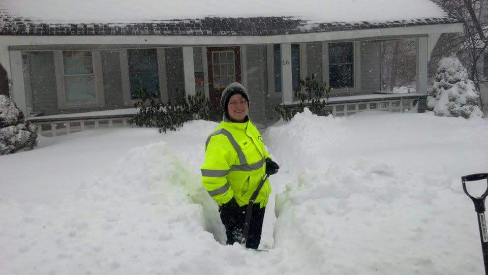Ruthy Brown outside her home during a different snowy winter (Courtesy of Ruthy Brown)