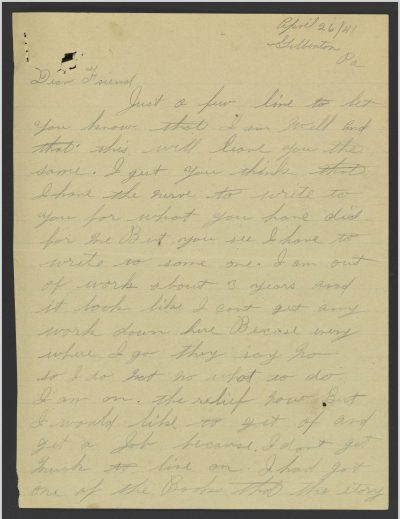 Seventeen years after he was freed, Harold wrote to Homer. (Courtesy of Albert and Shirley Small Special Collections Library, University of Virginia)