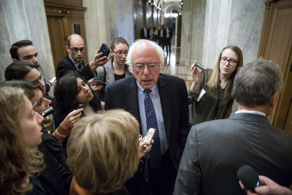In this Nov. 16, 2016 file photo, Sen. Bernie Sanders, I-Vt. speaks to reporters on Capitol Hill in Washington. (Andrew Harnik AP)
